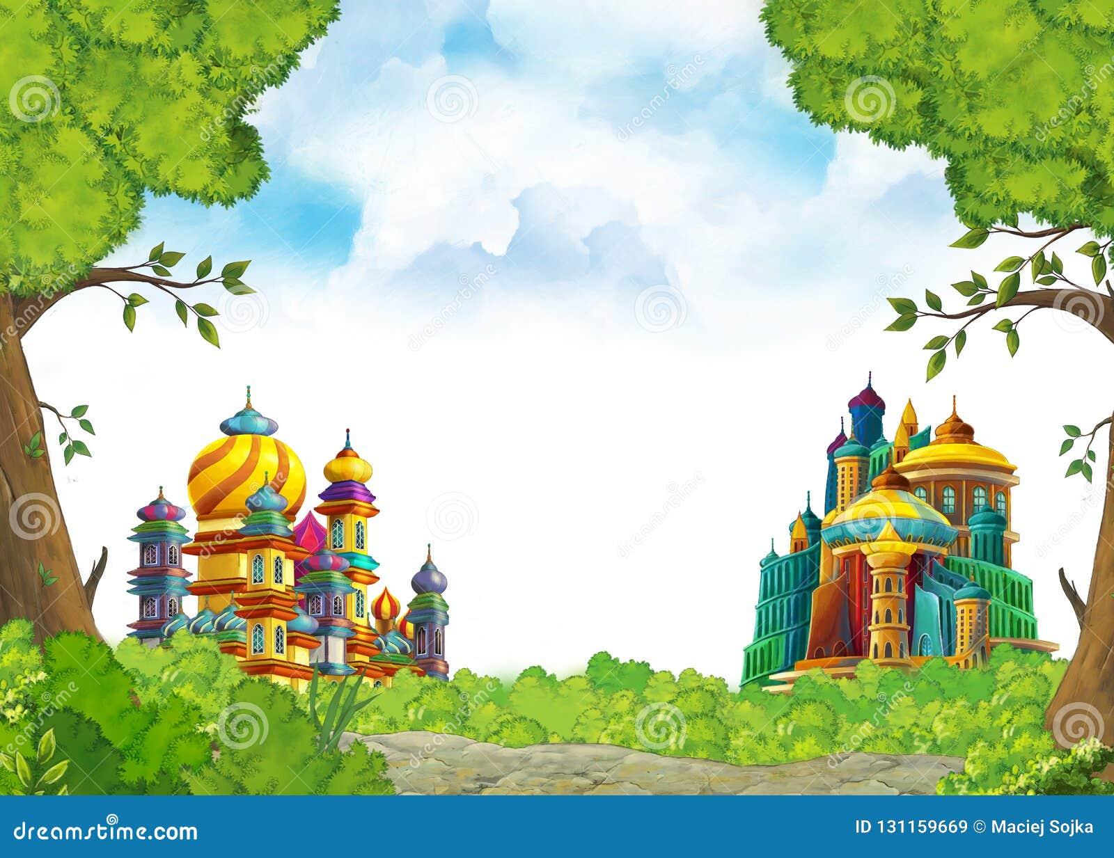 Cena com os castelos medievais bonitos - reino dos desenhos animados de Extremo Oriente - com espaço para o texto