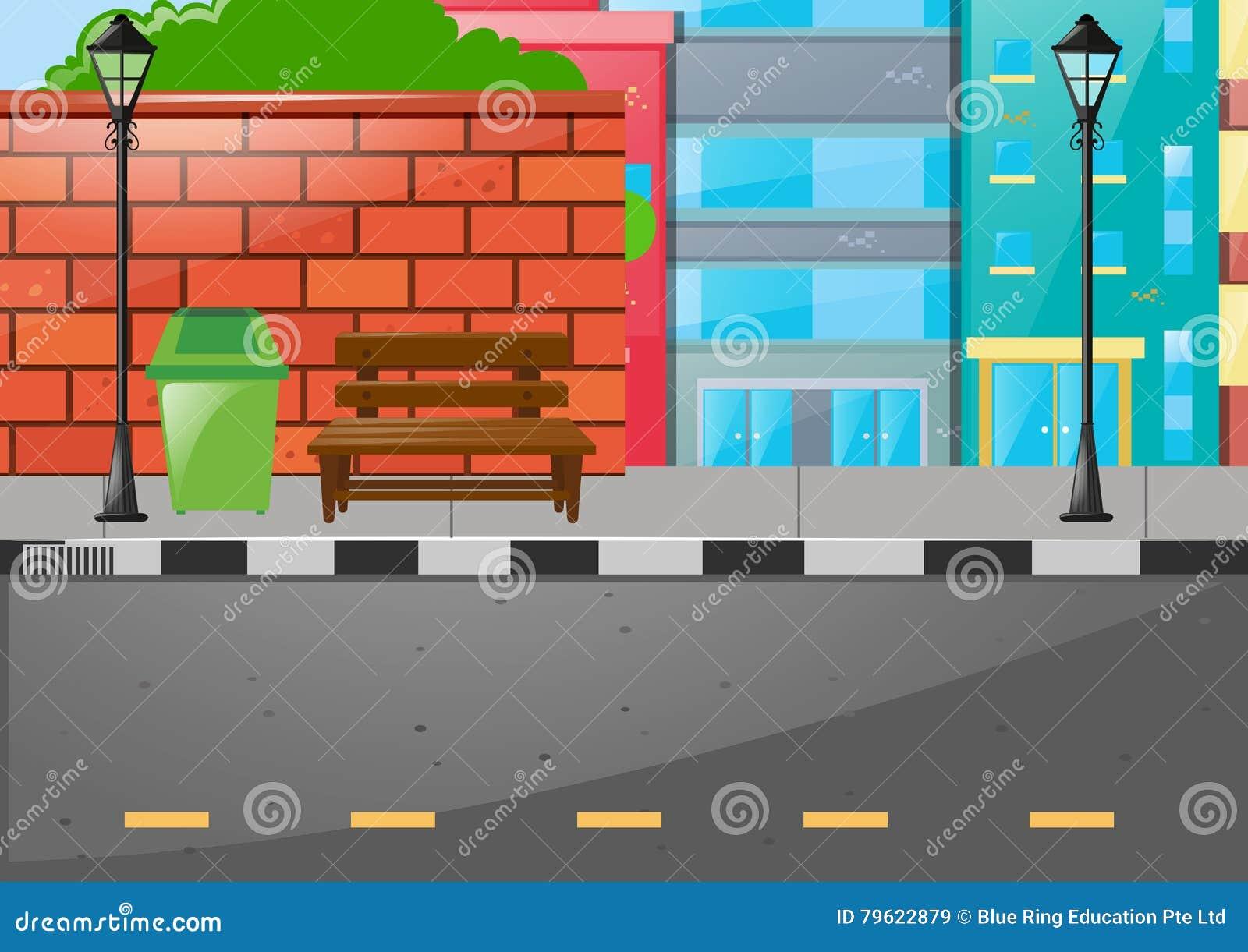 Cena da cidade com construções e estrada