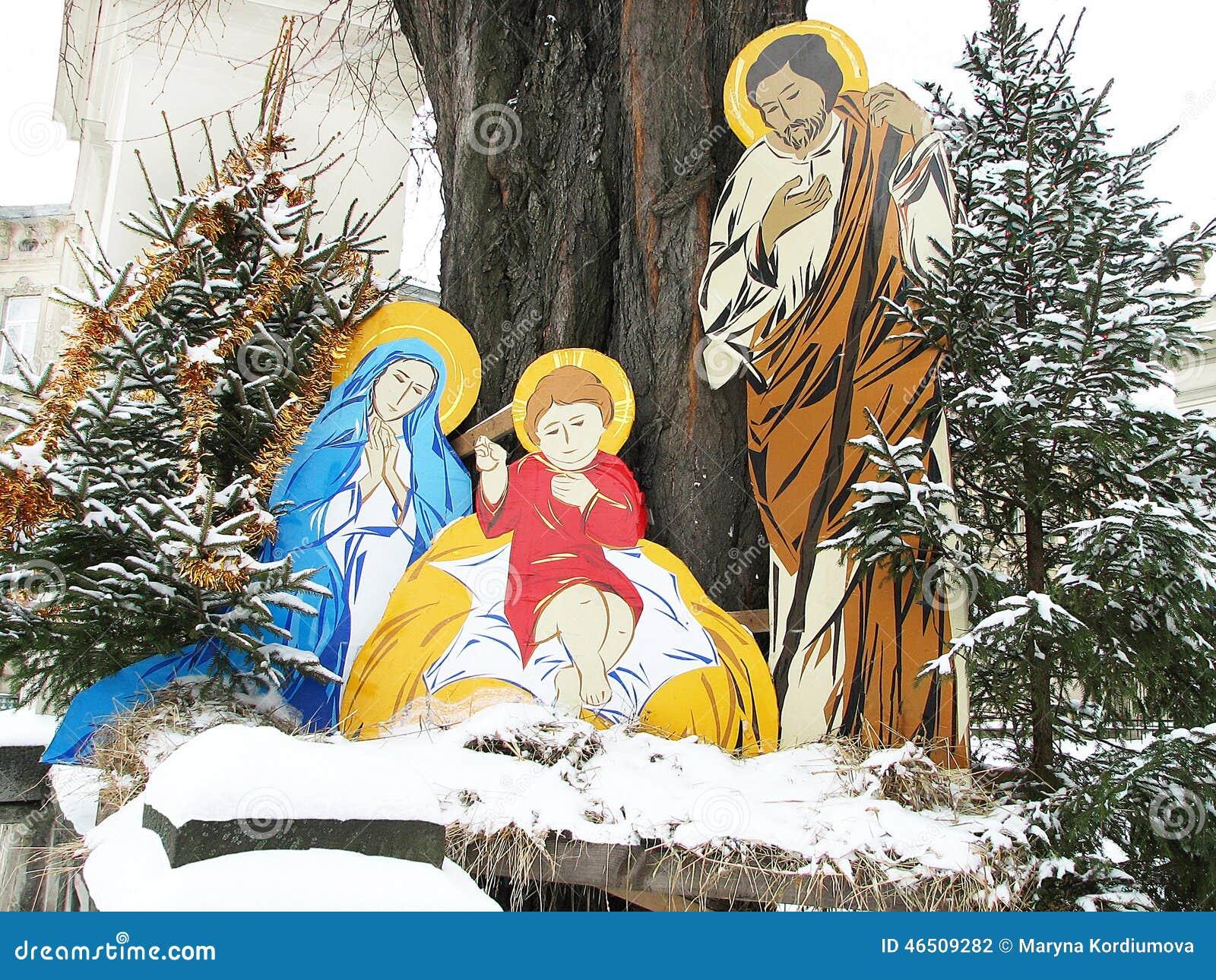 Cena da natividade do Natal do nascimento de jesus com Joseph e mary