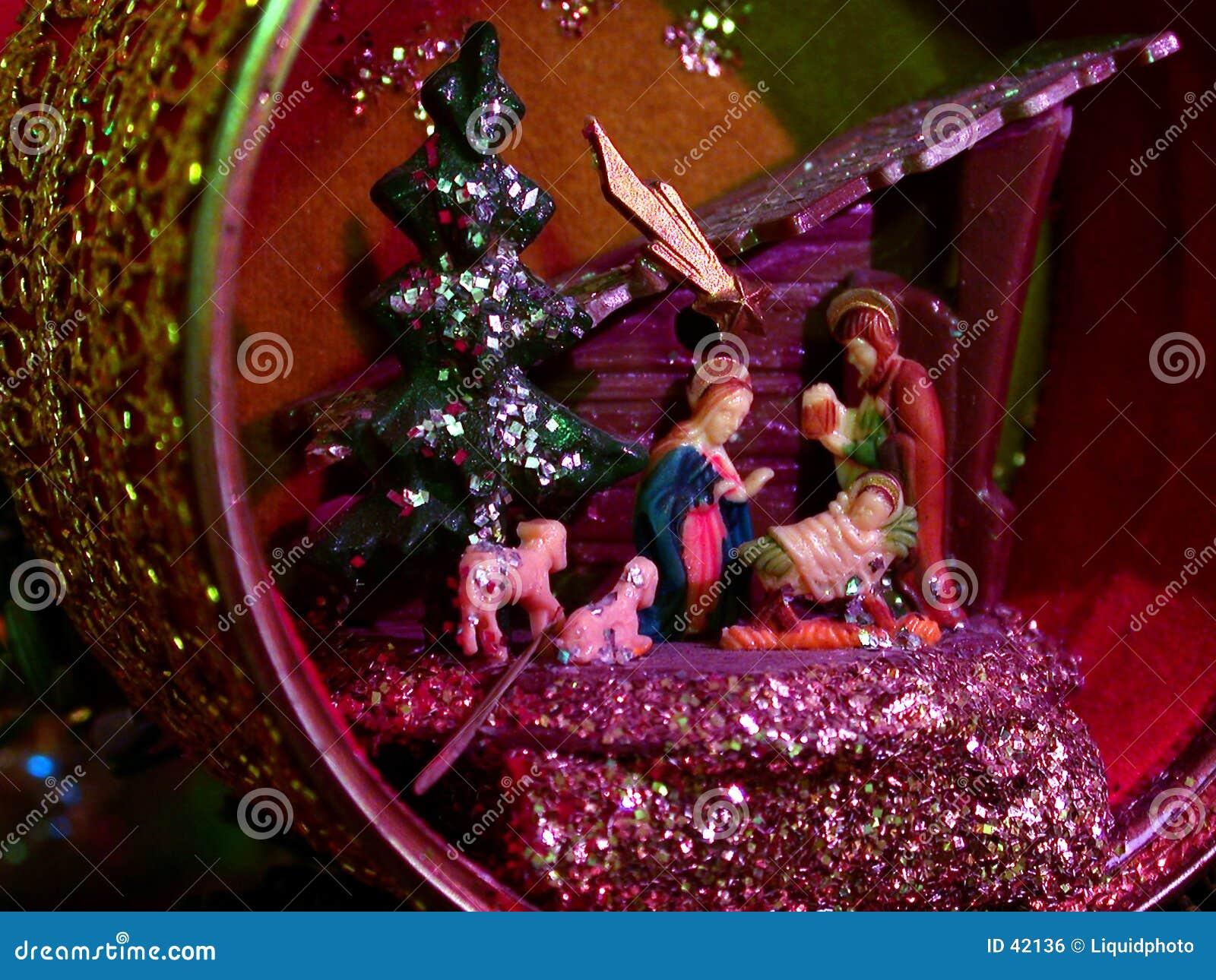 Cena da natividade do ornamento do Natal