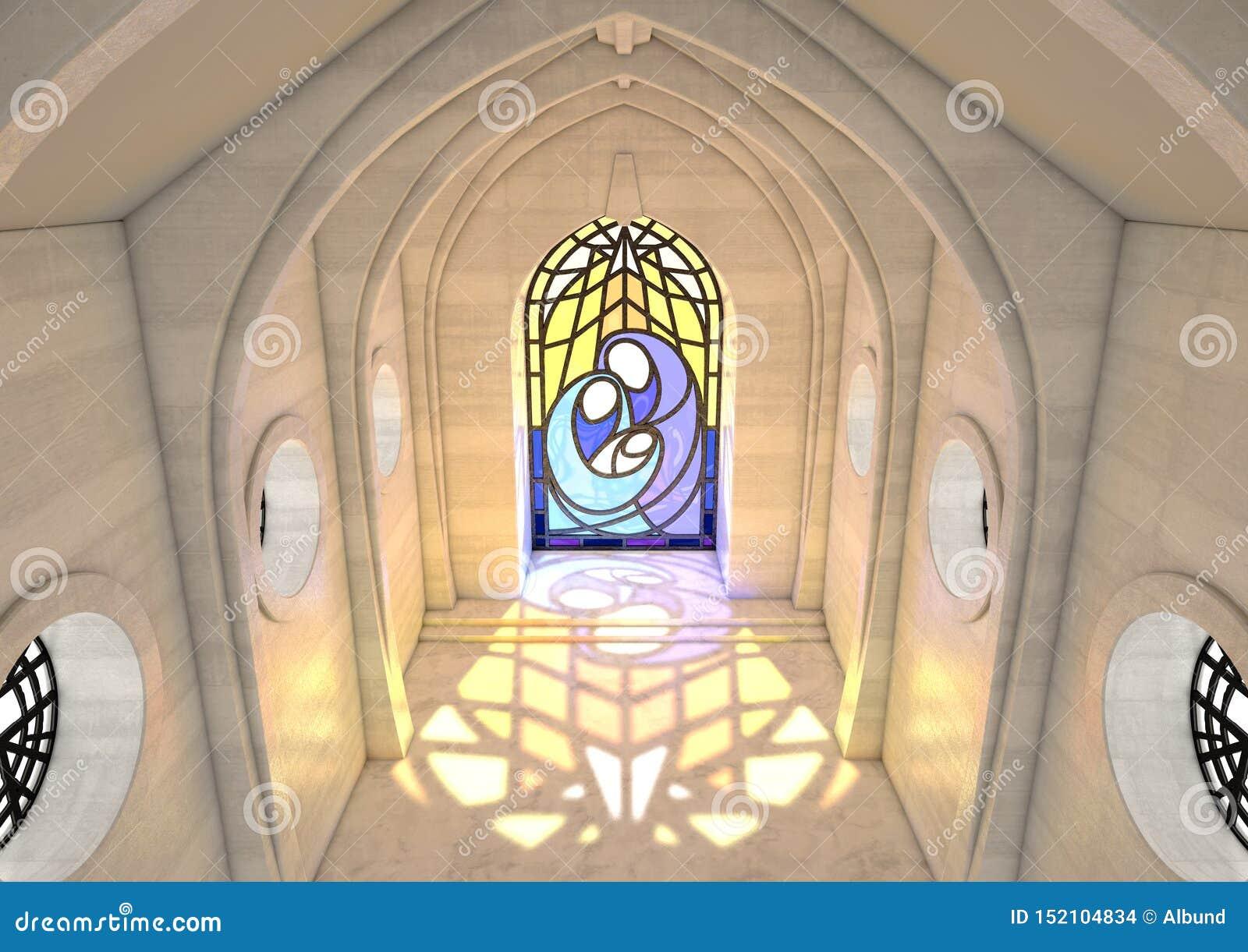 Cena da natividade da janela de vitral