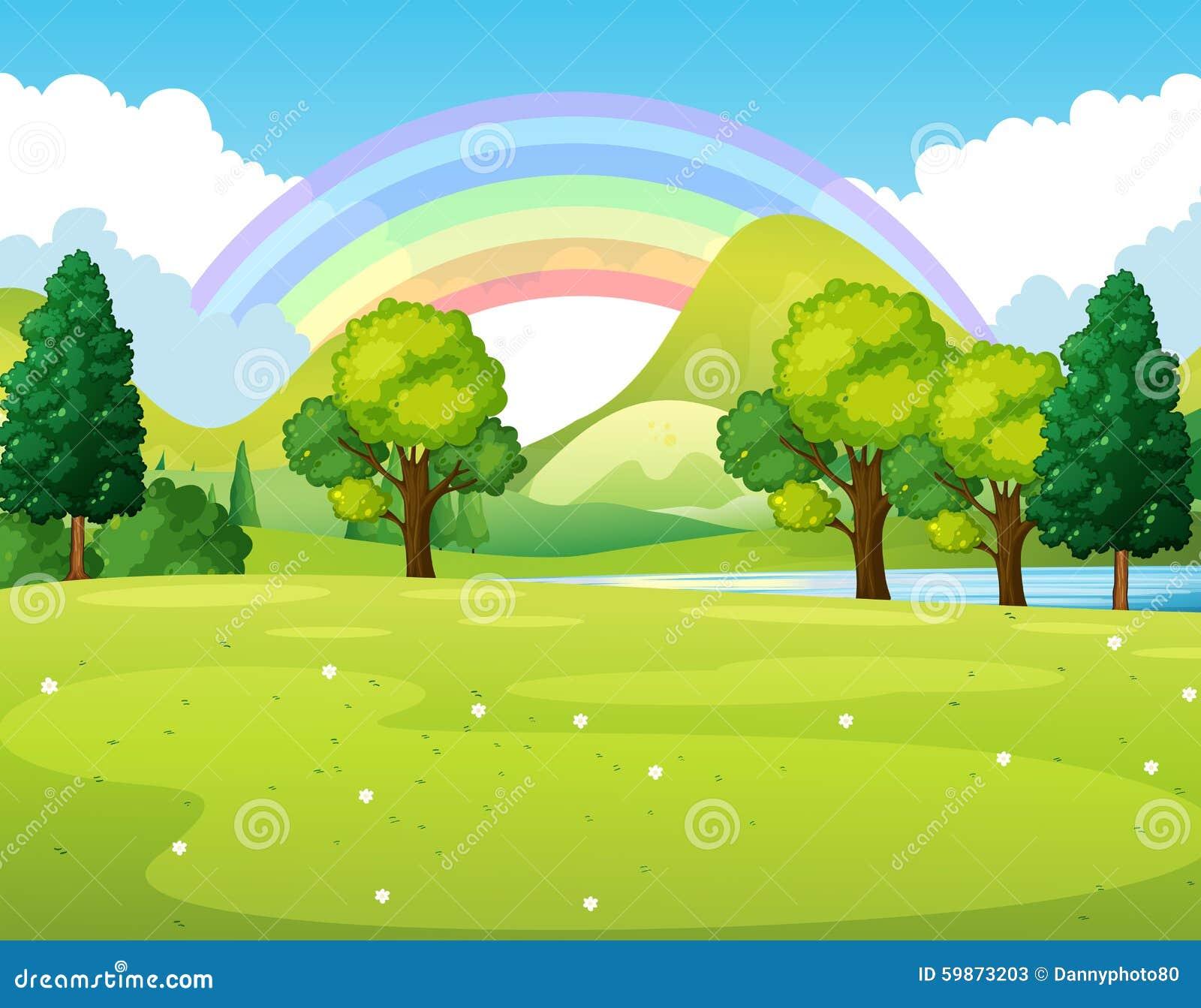 Cena da natureza de um parque com arco-íris