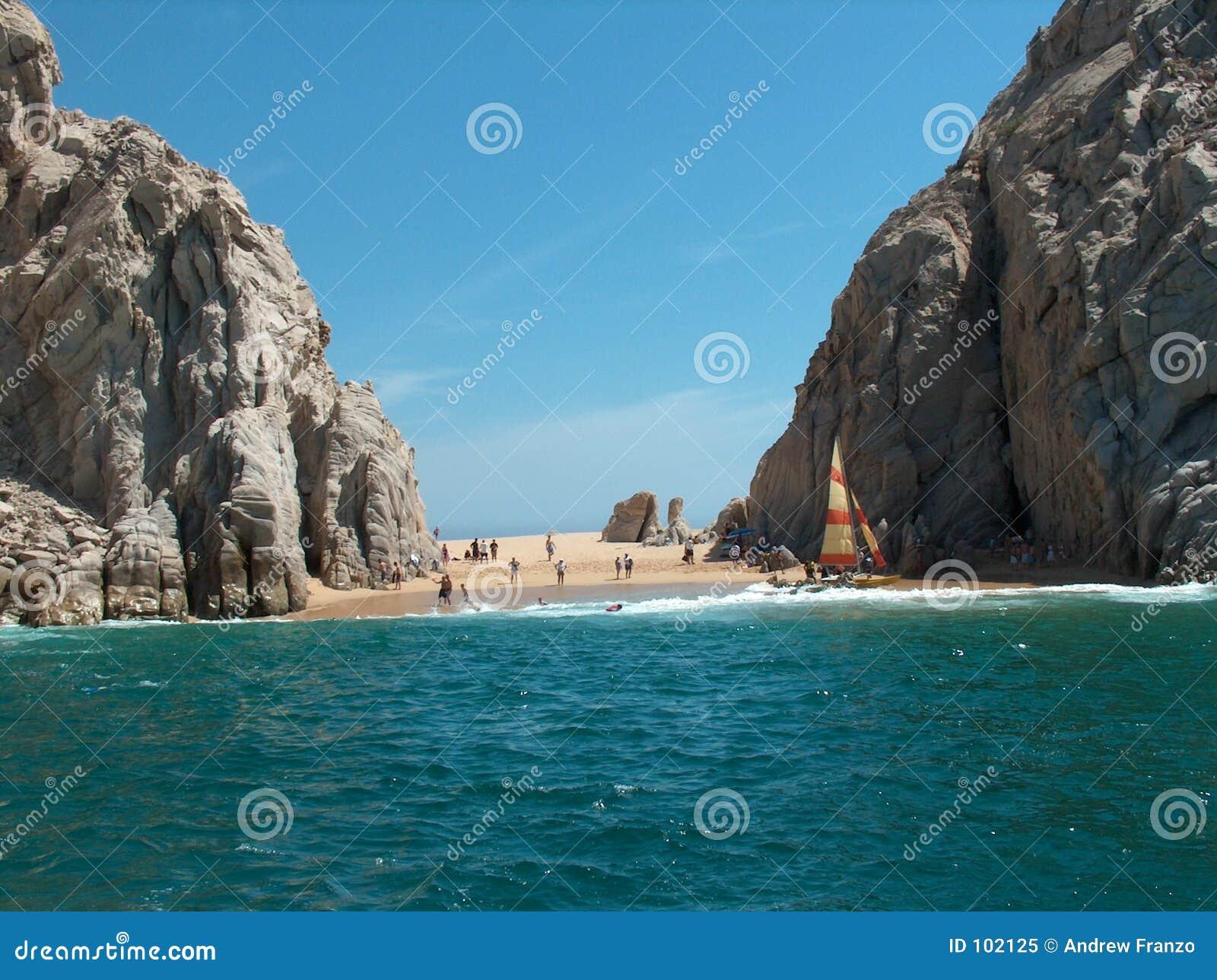 Cena da praia com rochas
