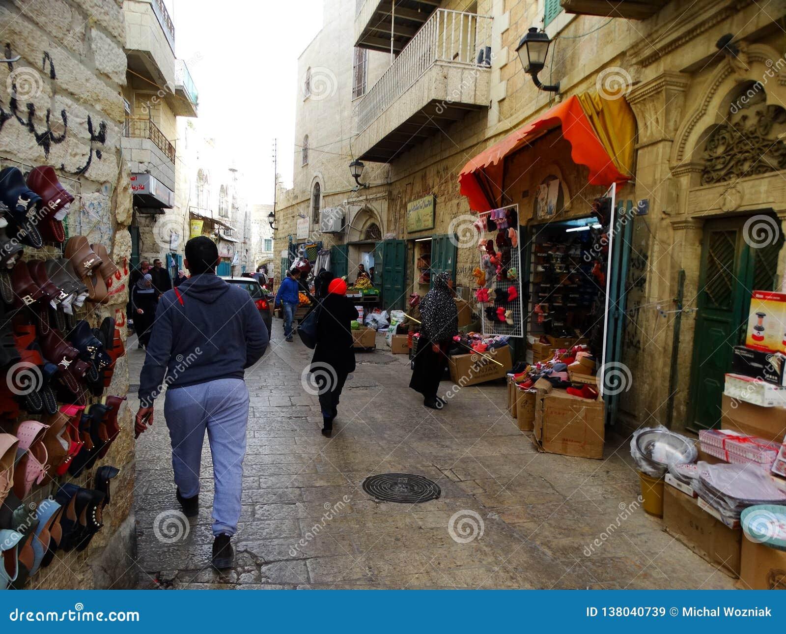 Cena da rua de Bethlehem, Palestina Israel