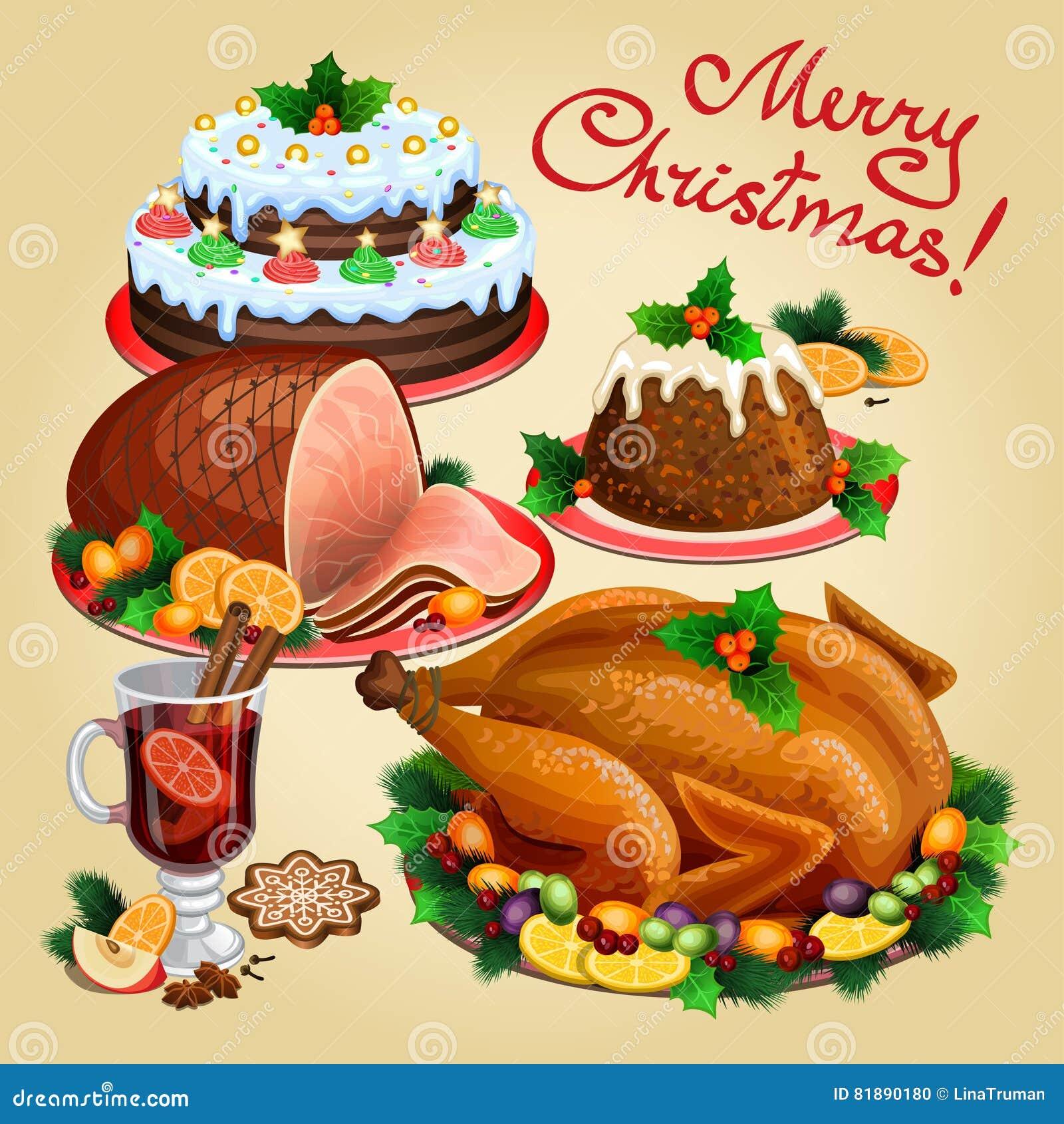 Cena de la navidad comida tradicional de la navidad y postres ilustraci n del vector imagen - Comida para navidad facil ...