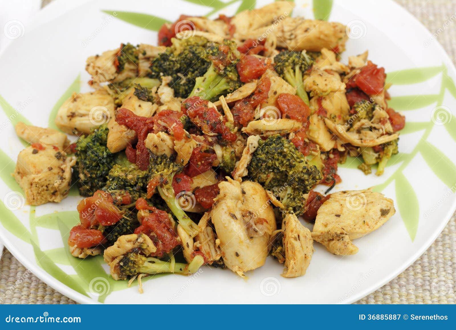 Download Cena Del Pollo, Dei Broccoli E Dei Pomodori Immagine Stock - Immagine di pasto, ossa: 36885887