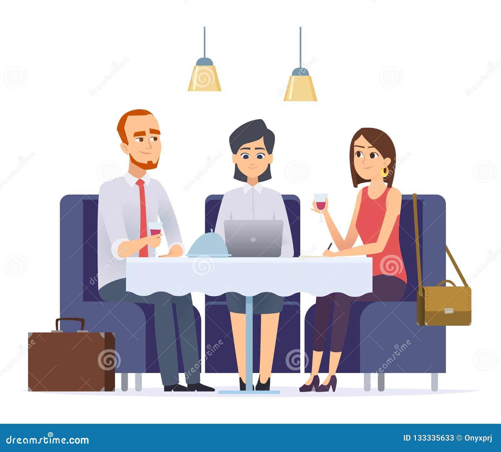 Cena di affari Riunione con il partner o il cliente del lavoro nei caratteri esecutivi di vettore del pranzo di lavoro del caffè