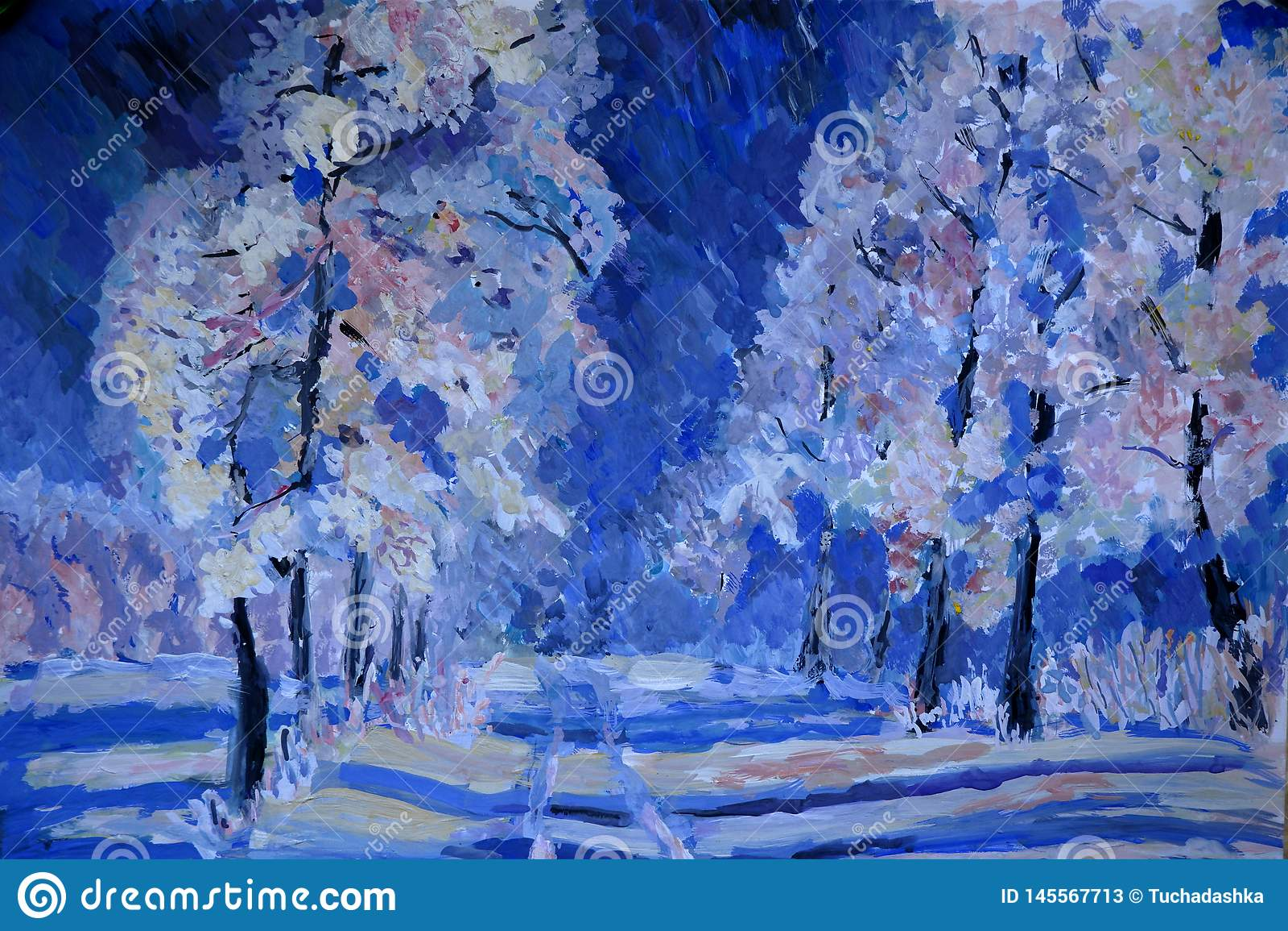 Cena do inverno com neve e as árvores azuis, pintura do guache
