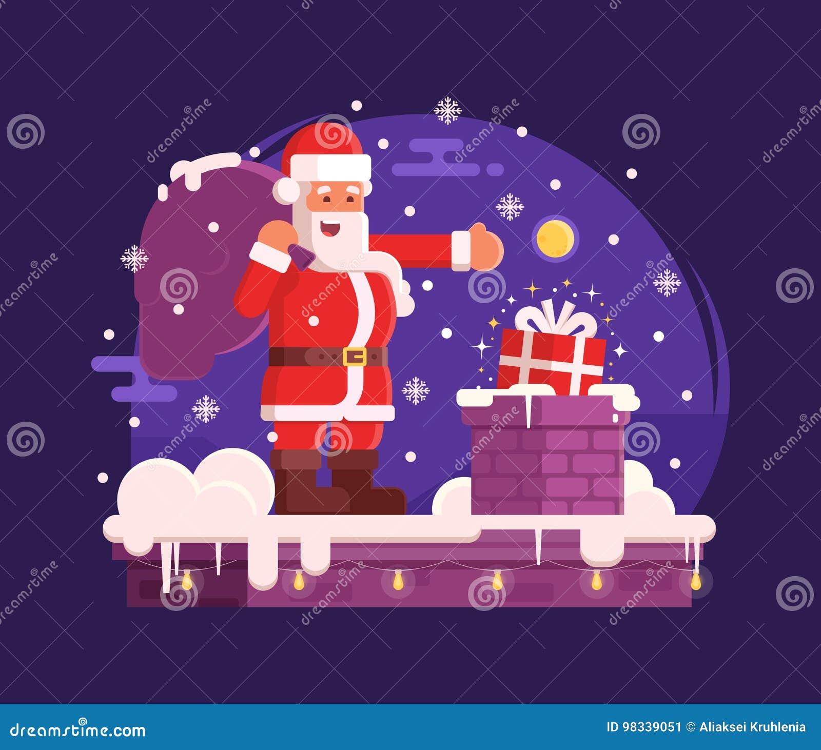 Cena do Natal de Santa Claus e da chaminé