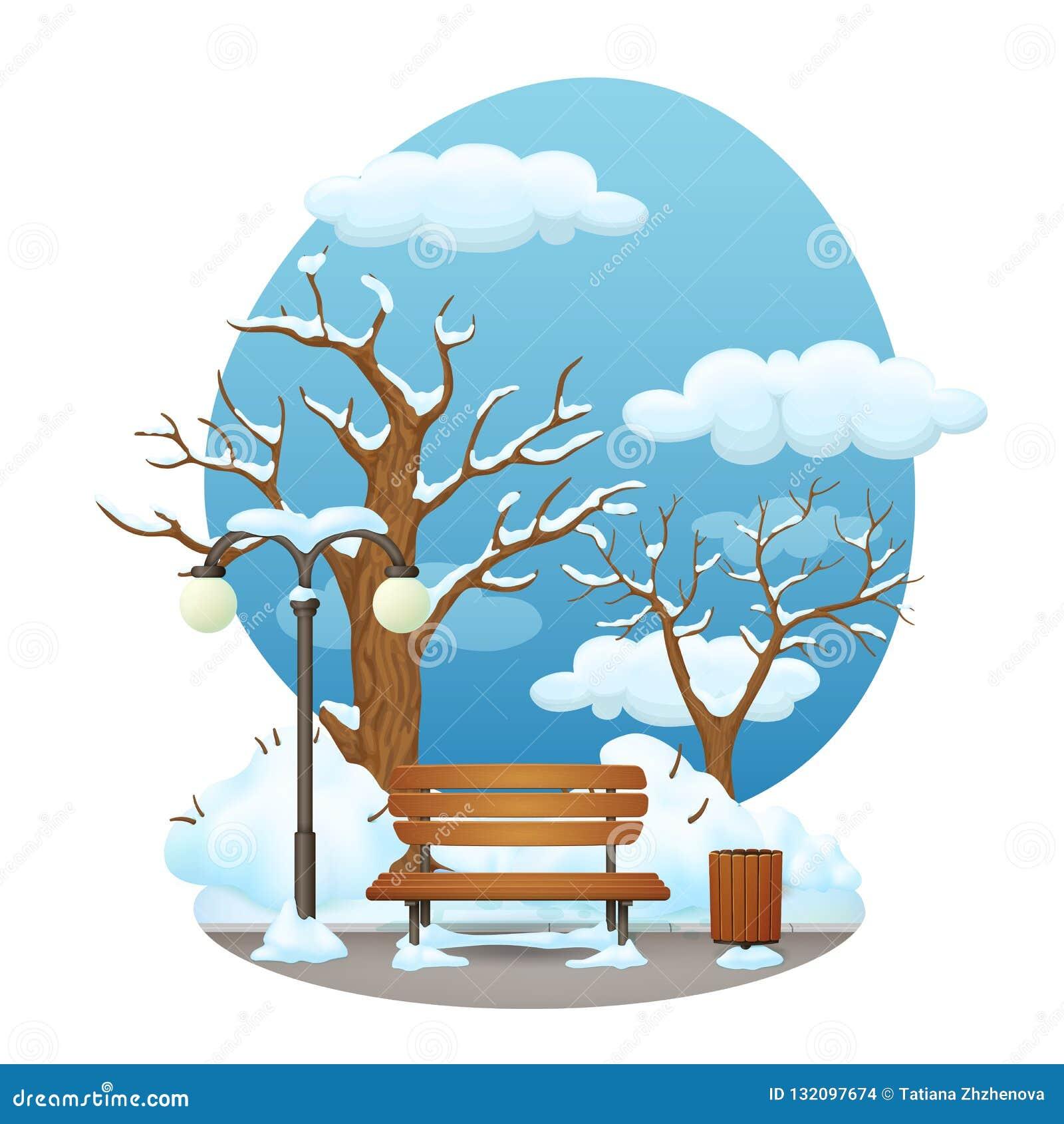 Cena do parque do dia de inverno Banco de madeira coberto de neve com lâmpada de rua