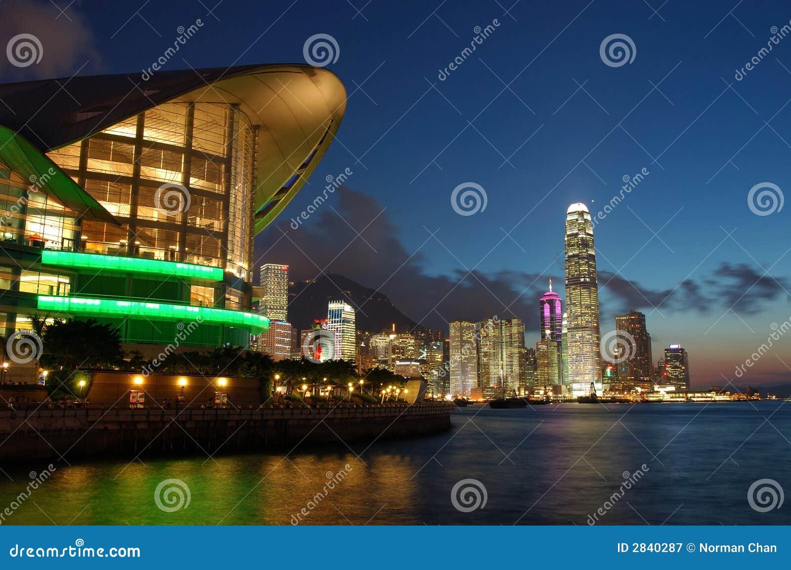 Cena do por do sol de Hong Kong