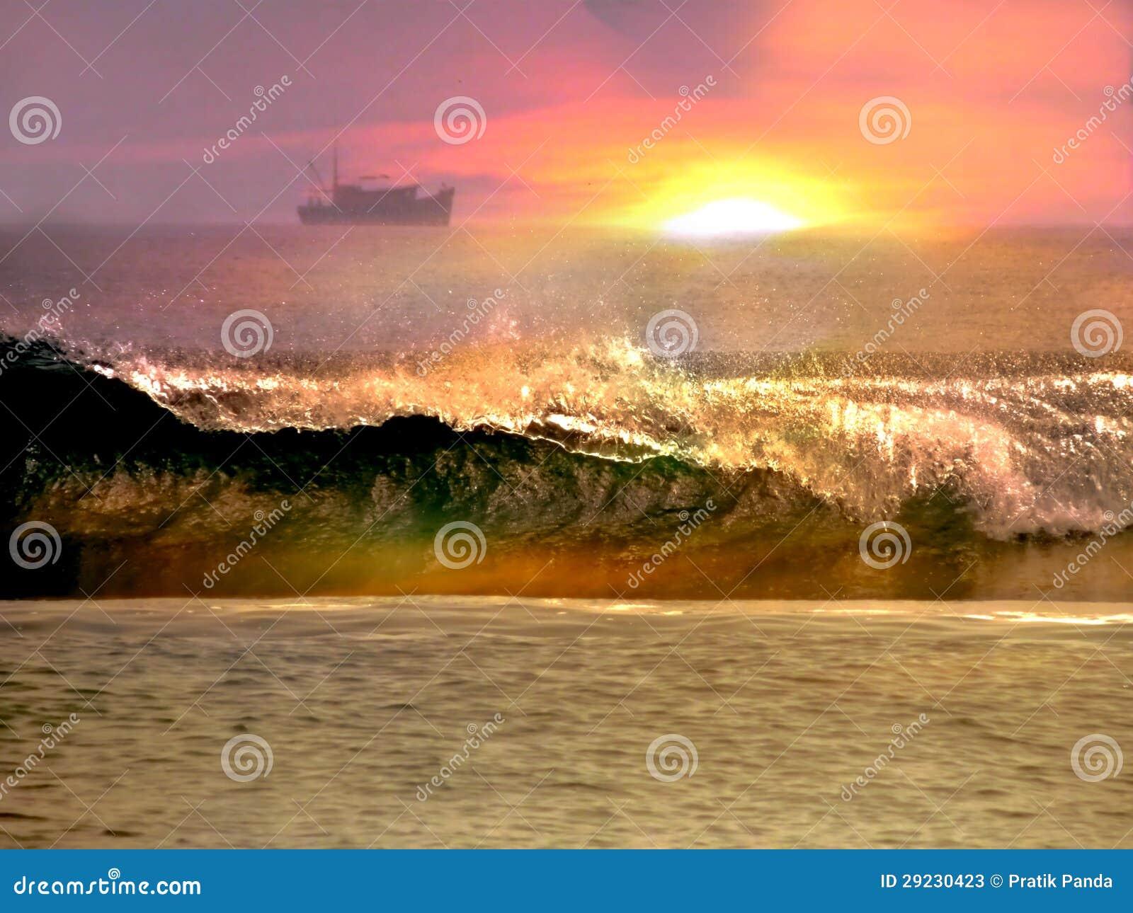 Download Cena Do Por Do Sol Do Oceano E Da Praia Imagem de Stock - Imagem de sail, mortal: 29230423