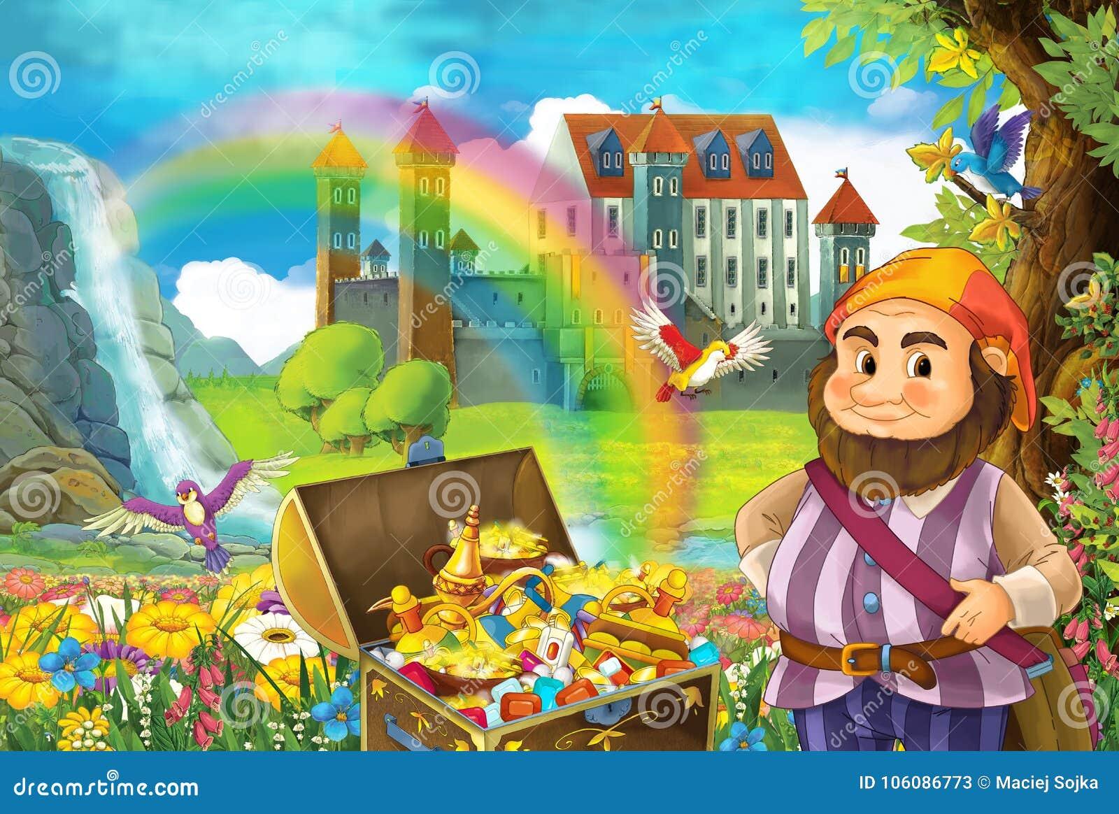 A cena dos desenhos animados com o arco-íris e o palácio bonitos do córrego no anão pequeno do fundo está estando perto do tesour