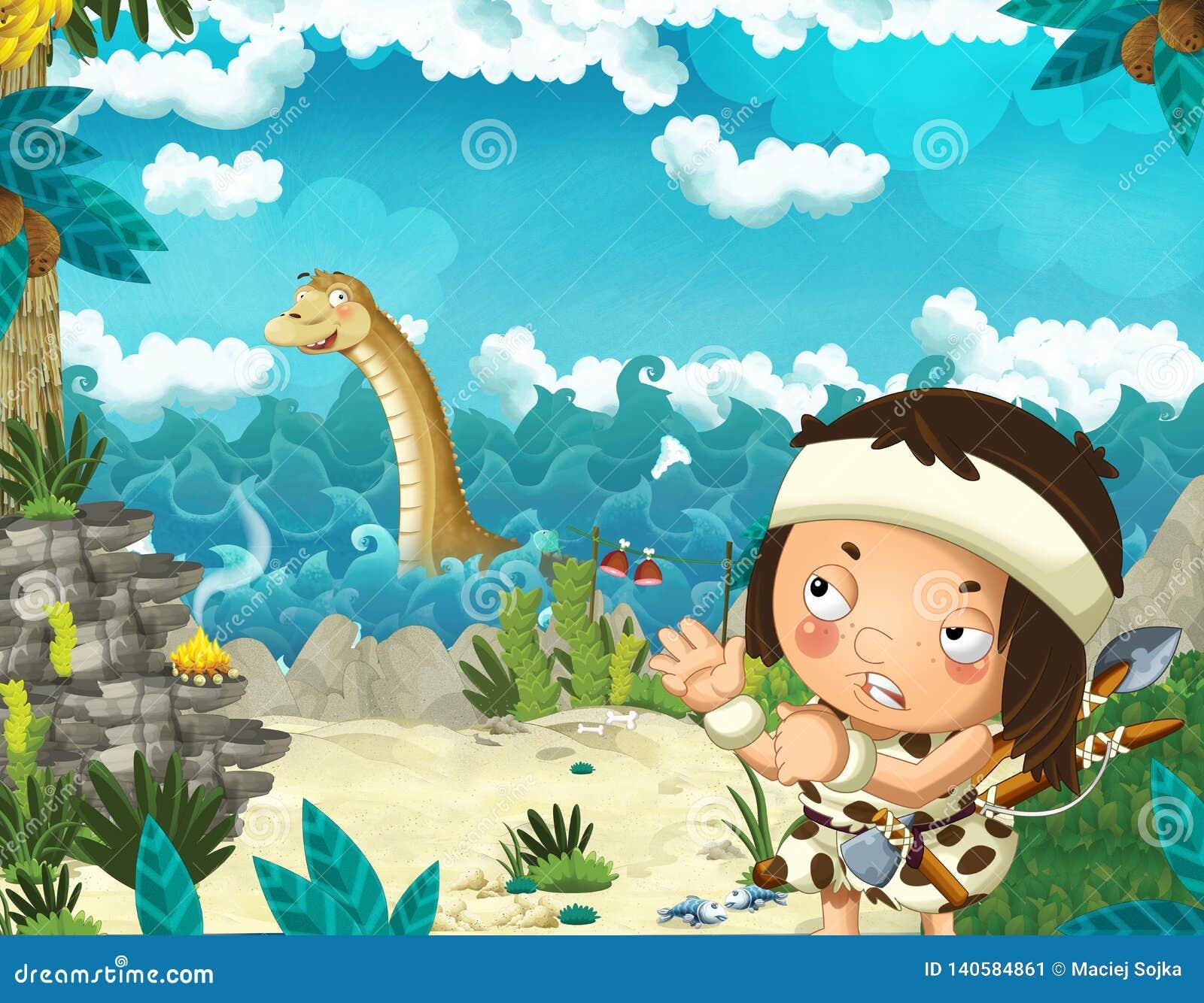 Cena dos desenhos animados com o homem das cavernas perto da costa de mar que olha algum diplodocus gigante feliz e engraçado do