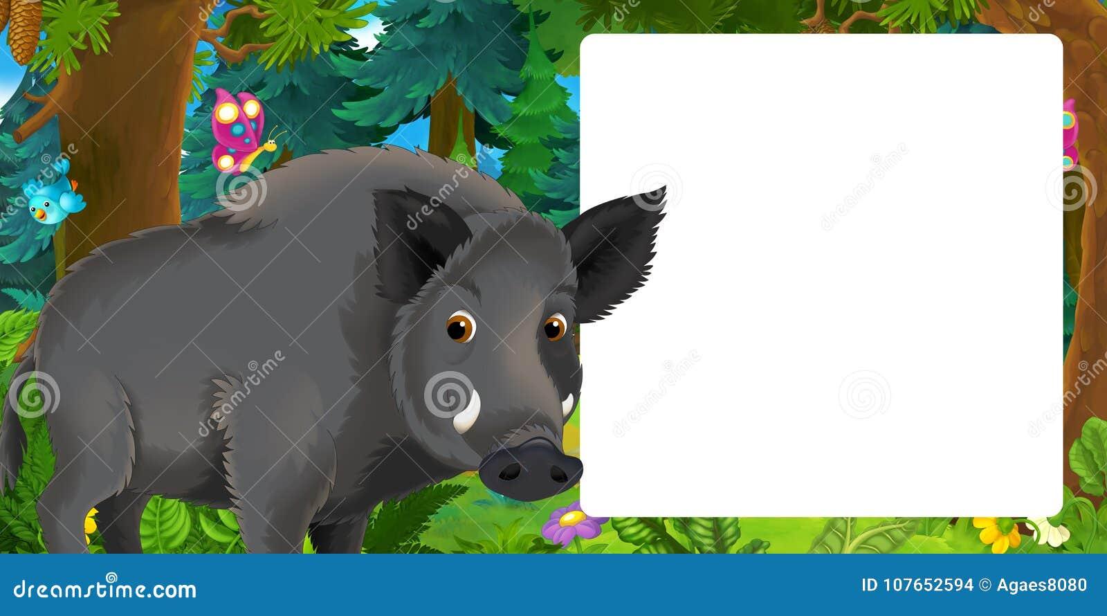 Cena dos desenhos animados com posição feliz do javali na floresta - com espaço para o texto
