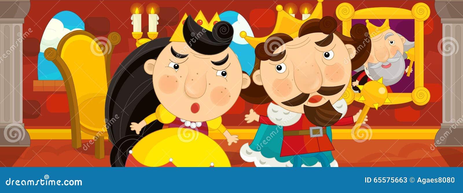 Cena dos desenhos animados do casal na sala do castelo