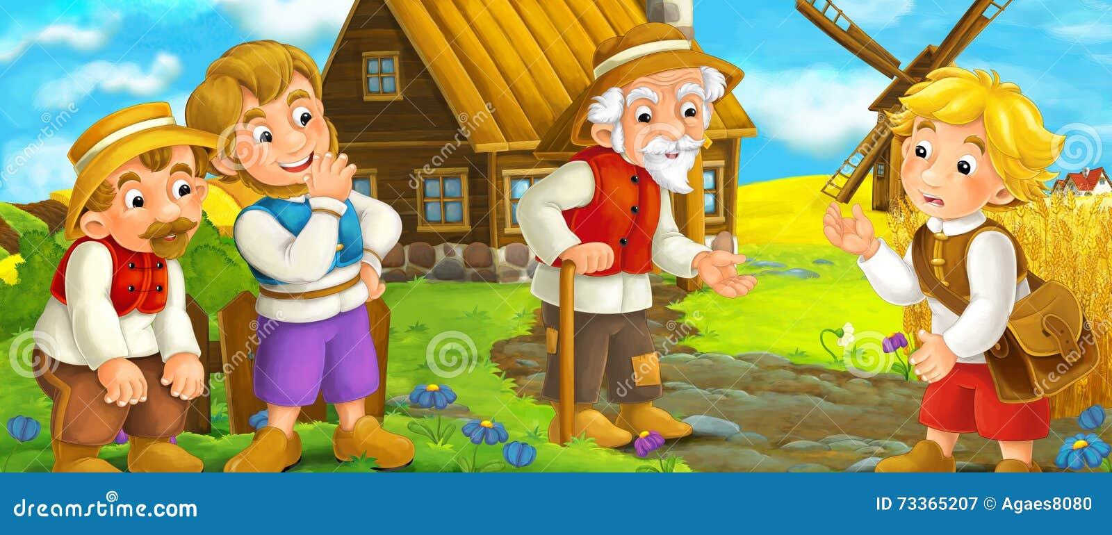Cena dos desenhos animados - grupo de pessoas que fala - vida na vila pequena - épocas medievais velhas