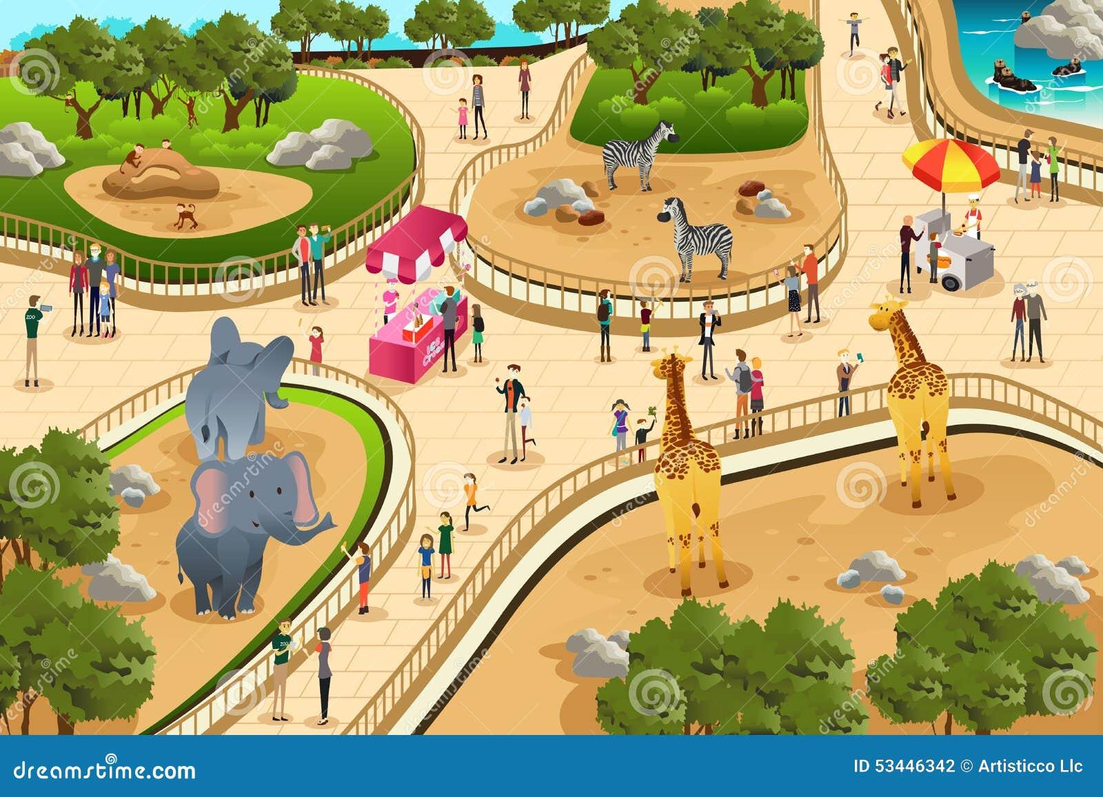 Cena em um jardim zoológico