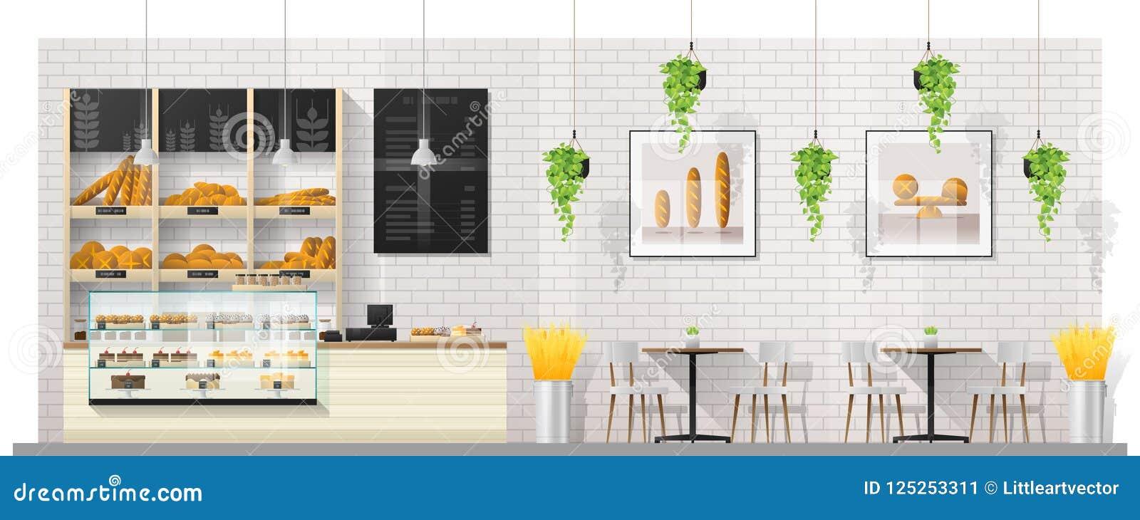 Cena interior da loja moderna da padaria com contador, tabelas e cadeiras da exposição