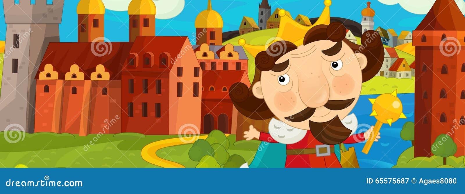 Cena medieval com o rei na frente de seu castelo - imagem dos desenhos animados para contos de fadas diferentes