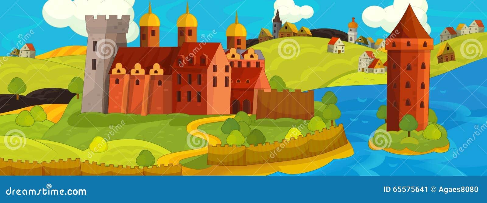 Cena medieval dos desenhos animados - imagem para contos de fadas diferentes