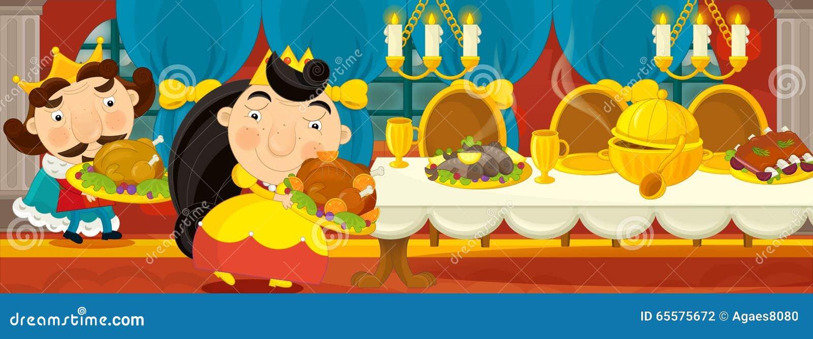 Cena medieval dos desenhos animados - imagem para contos de fadas diferentes - rainha na sala de jantar