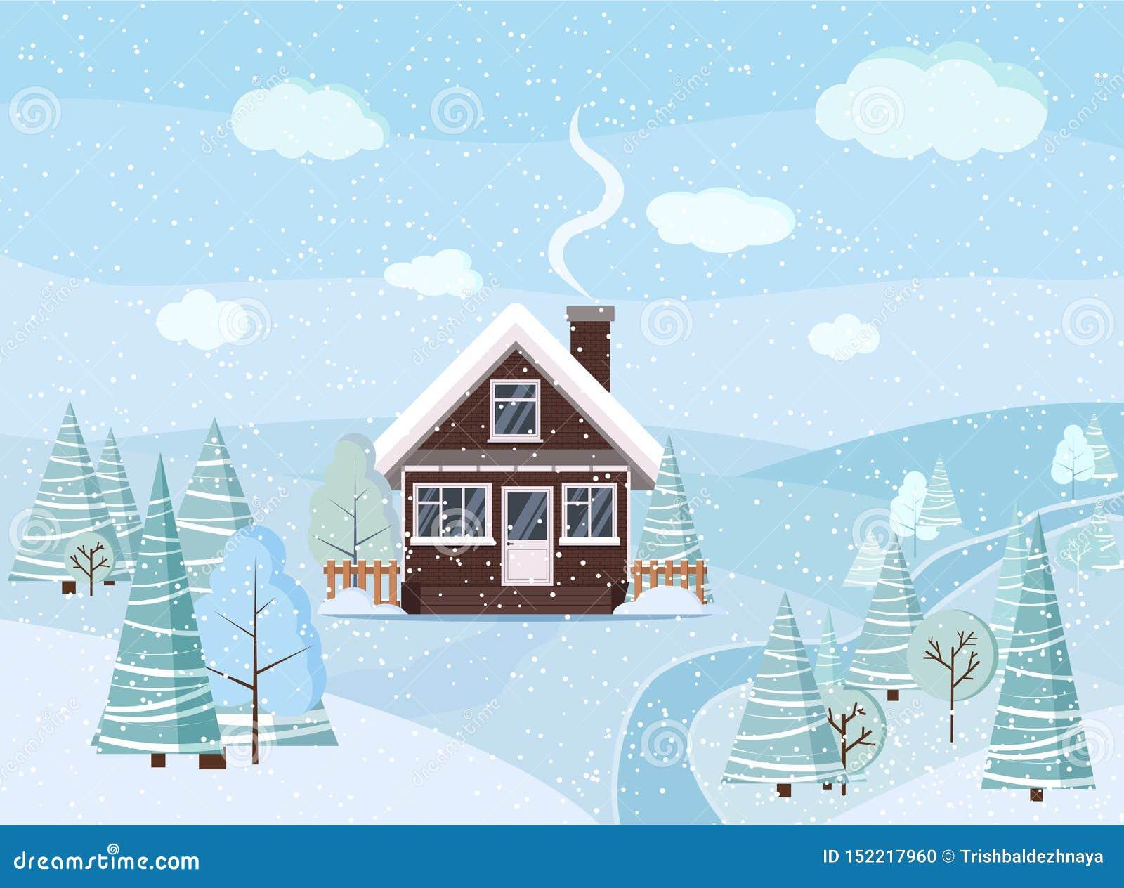 Cena nevado da paisagem do inverno com casa do tijolo, árvores do inverno, abetos vermelhos, nuvens, rio, neve, campos no estilo