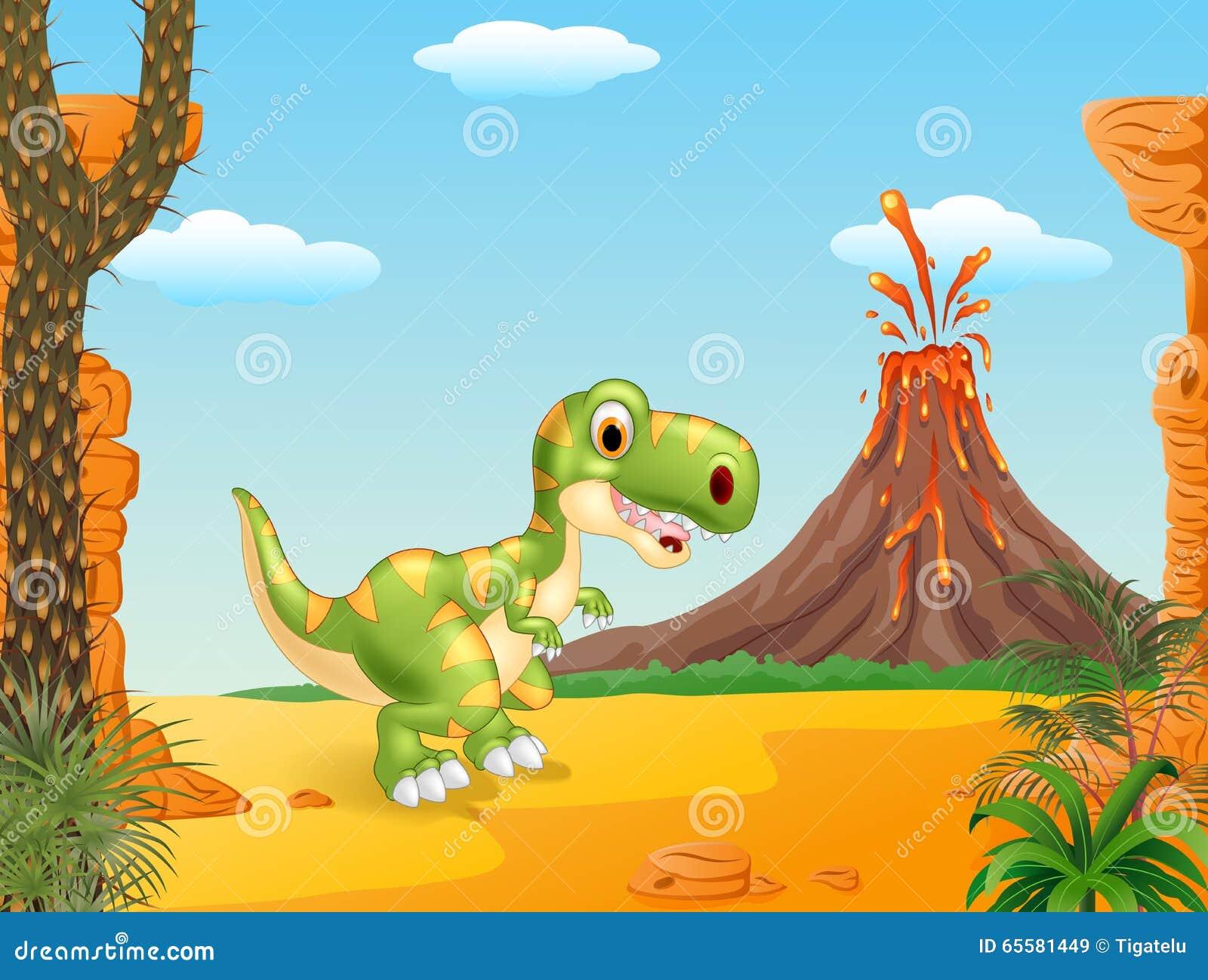 Cena pré-histórica com a mascote feliz do dinossauro do tiranossauro