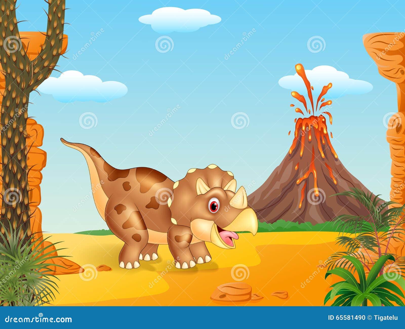 Cena pré-histórica com o dinosaurin horned do triceratops três