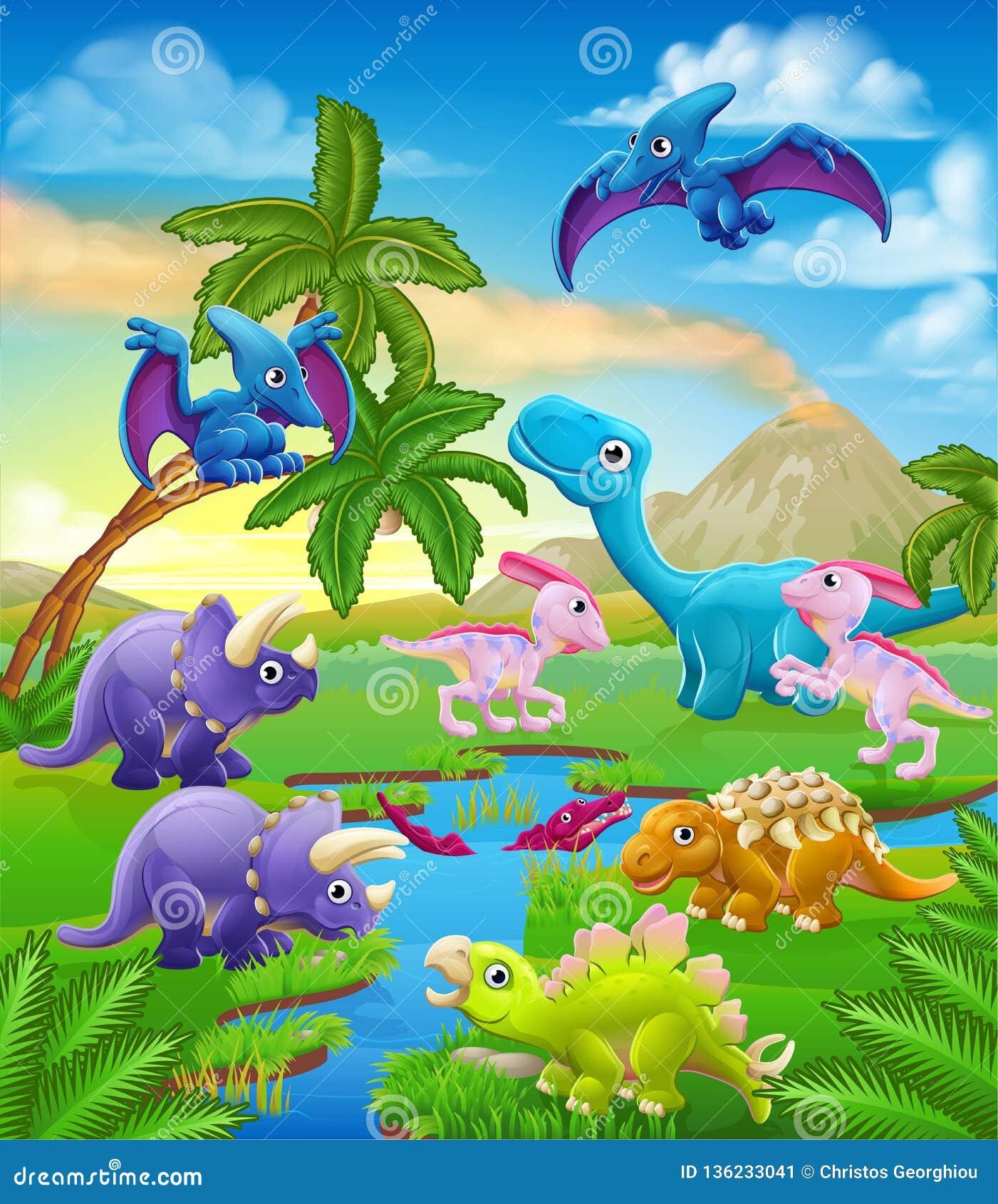 Cena Pre Historica Da Paisagem Dos Desenhos Animados Do Dinossauro