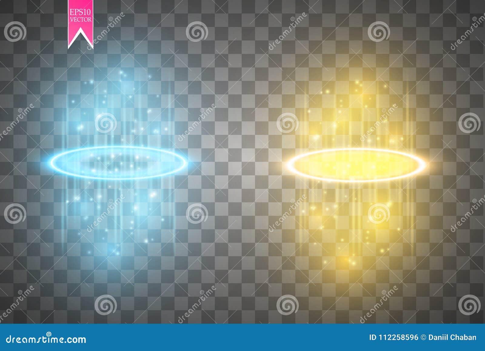 Cena redonda da noite dos raios do fulgor do azul e do ouro com as faíscas no fundo transparente Mostre o partido Fase do feixe P