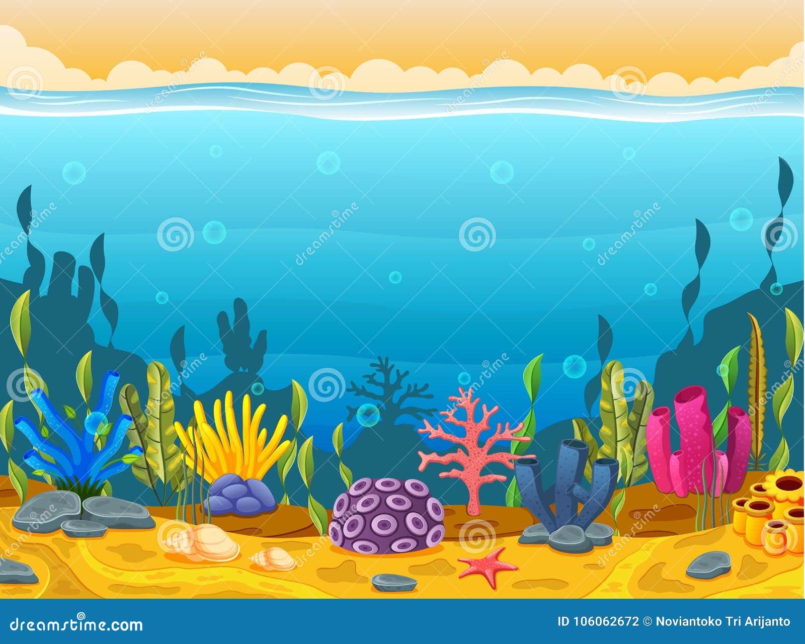 Cena subaquática com recife de corais tropical