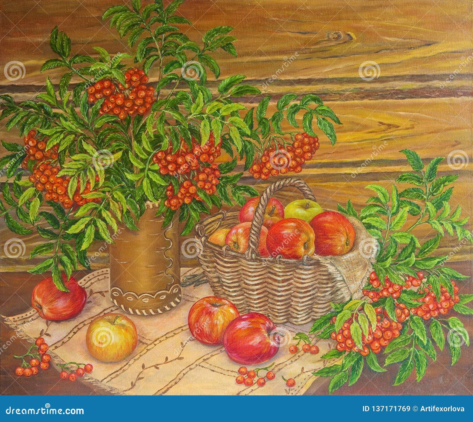 Cenere e mele di montagna di verniciatura di natura morta dell olio Pittura originale