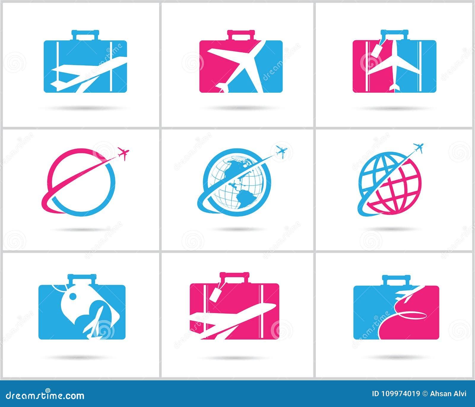 Cenografia dos logotipos do curso A agência e o turismo de bilhete vector ícones, avião no saco e globo Logotipo do saco da bagag