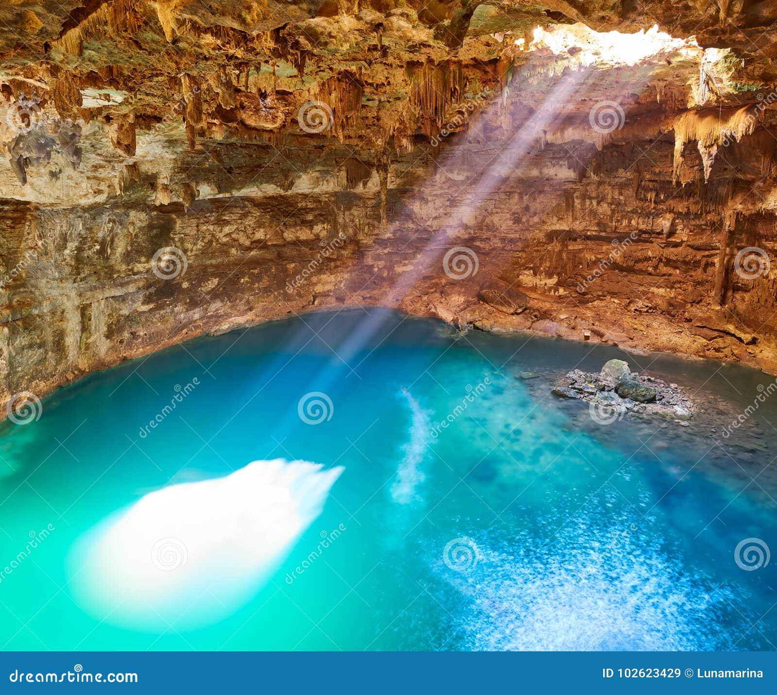 Cenote Samula Sinkhole In Valladolid Mexico Stock Image