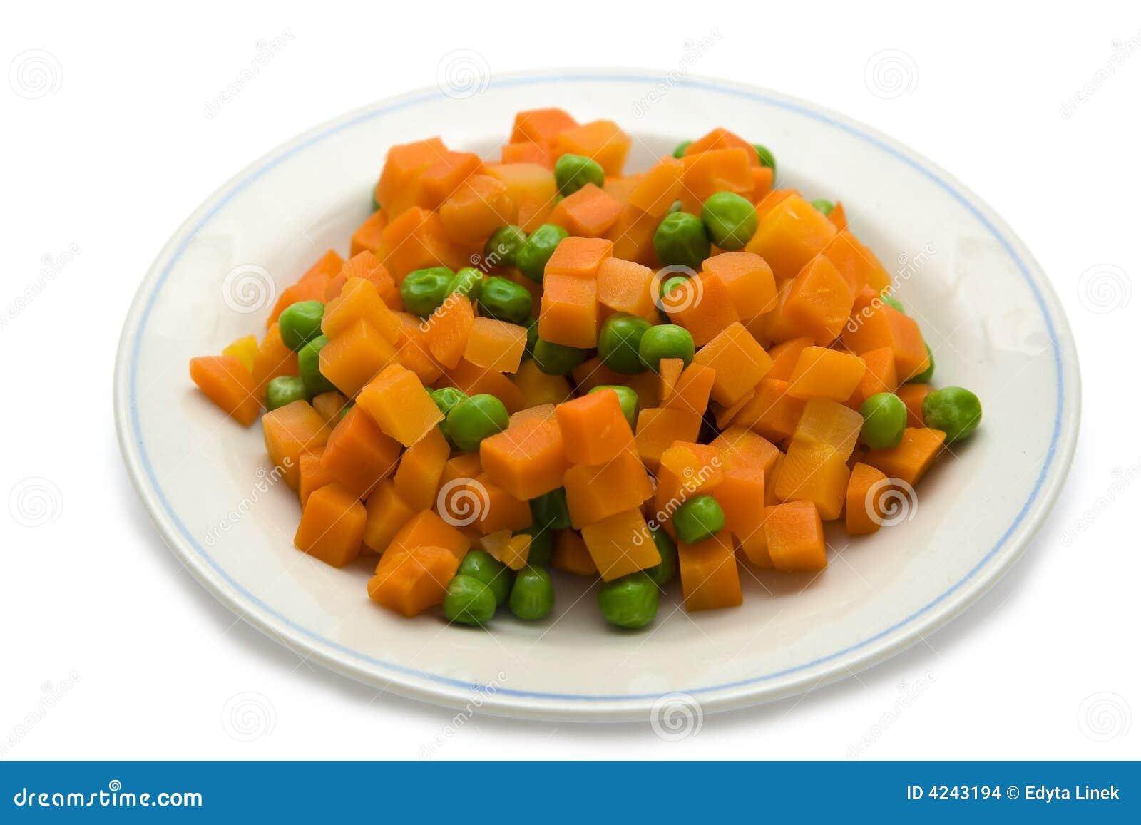Cenoura e ervilhas verdes