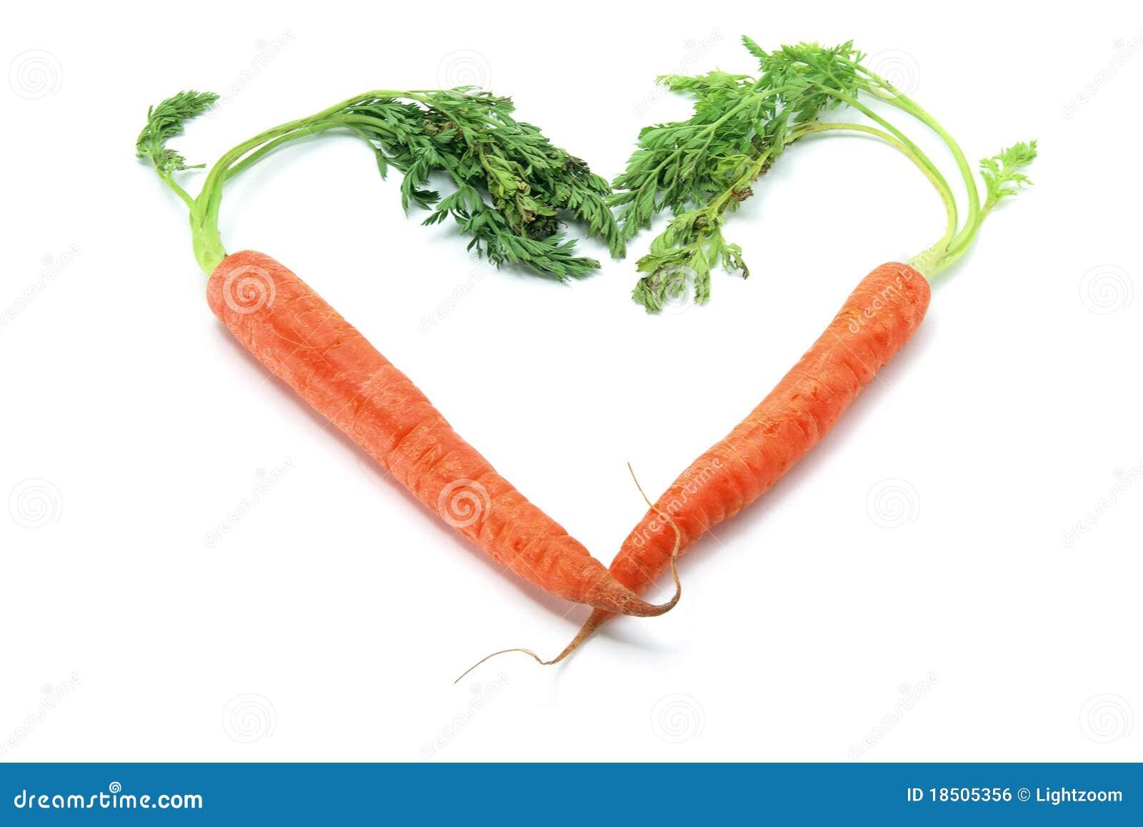 Cenouras arranjadas na forma do coração