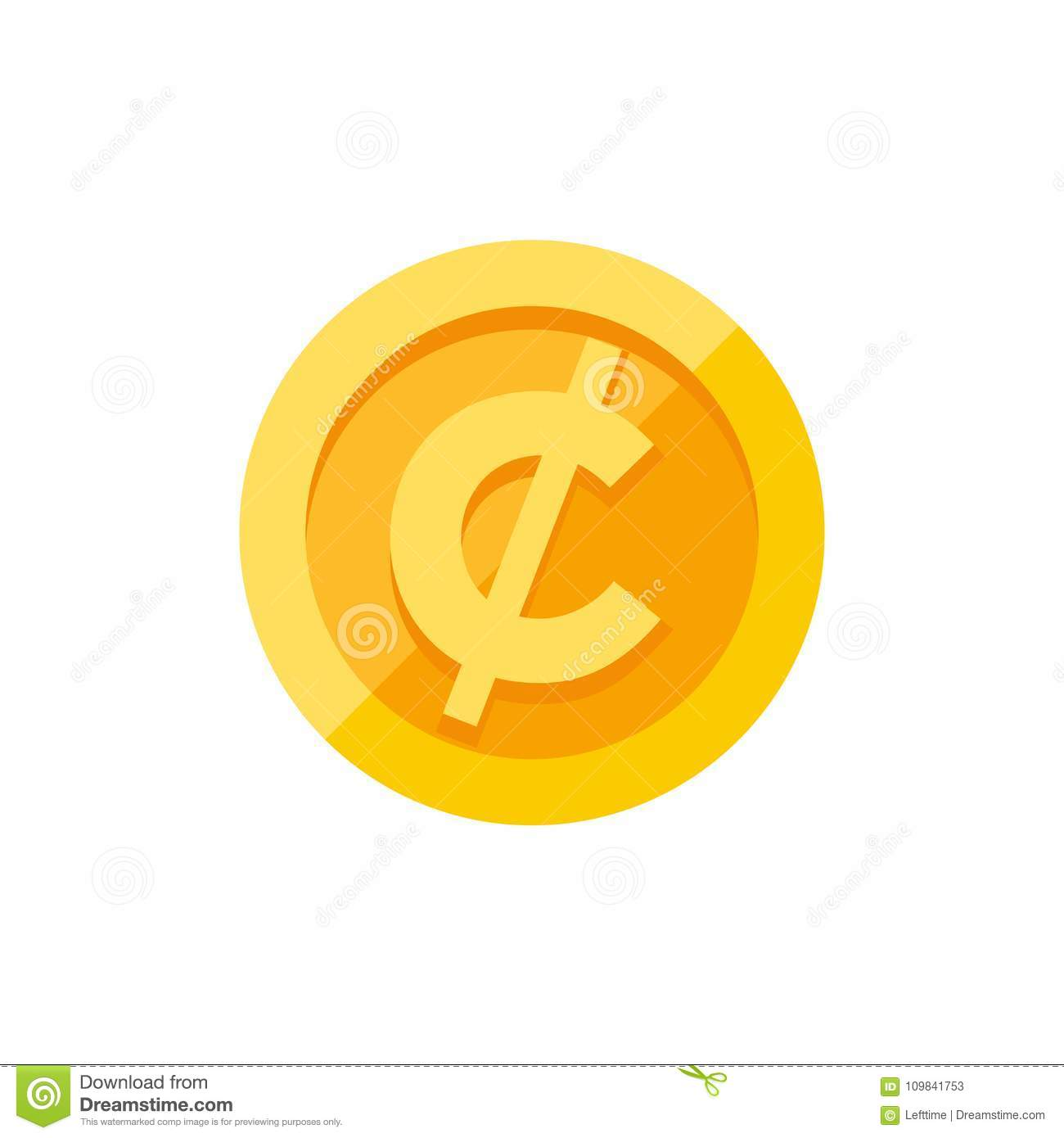 Cent Or Centavo Currency Symbol On Gold Coin Flat Style Stock Vector
