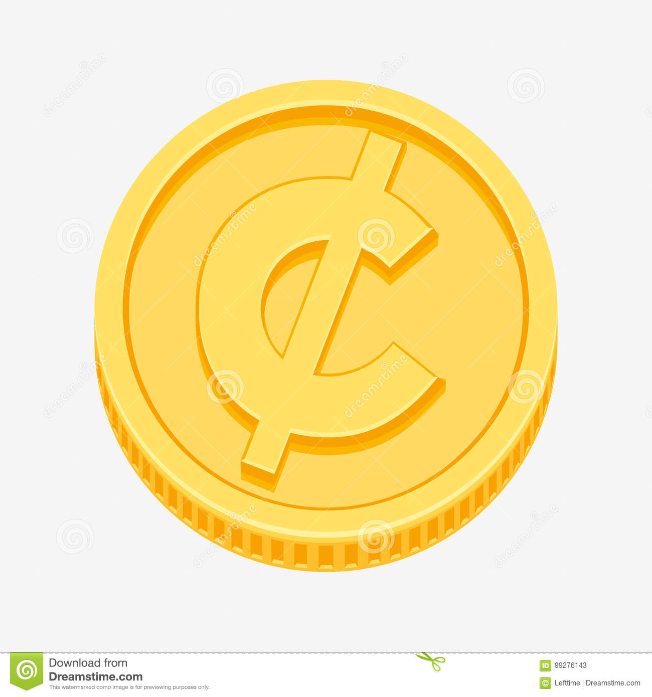 Cent Centavo Peso Currency Symbol On Gold Coin Stock Vector