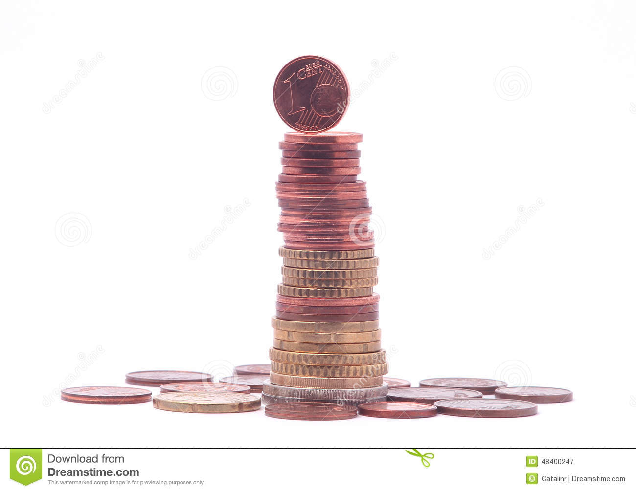 1 Cent Coin Standing On Top Of Stack Of Euro Coins Stock Image Image Of Column Investment 48400247