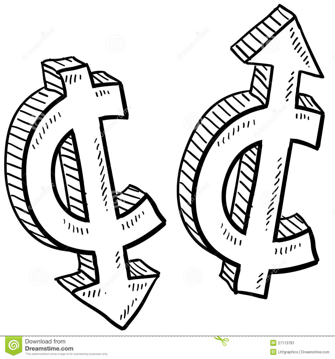 Cent Currency Value Sketch Stock Vector Image Of Exchange