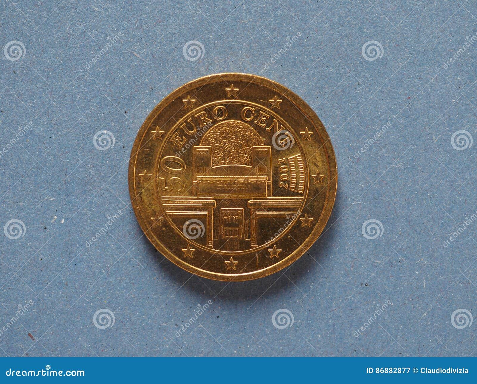 50 Cent Münze Europäische Gemeinschaft österreich Stockbild Bild