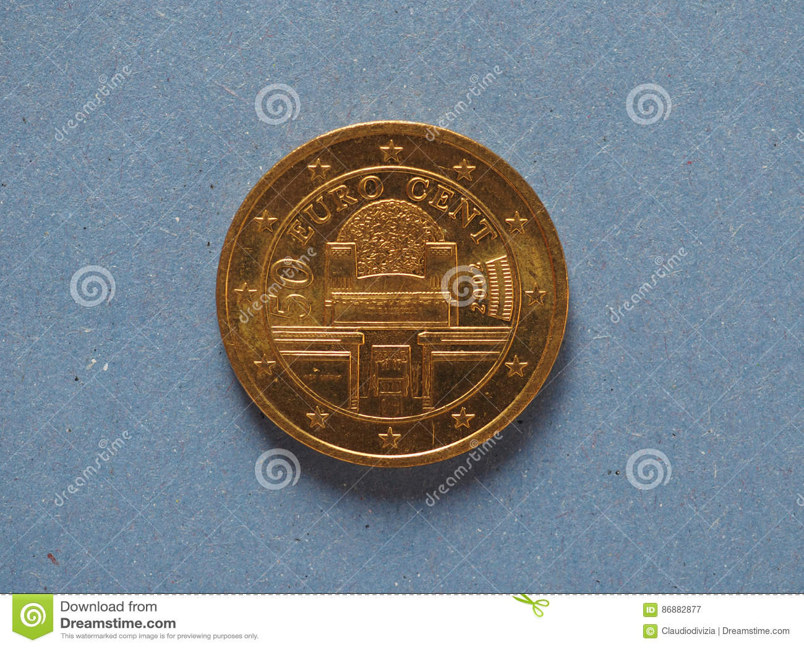 50 Cent Mynt Europeisk Union österrike Fotografering För