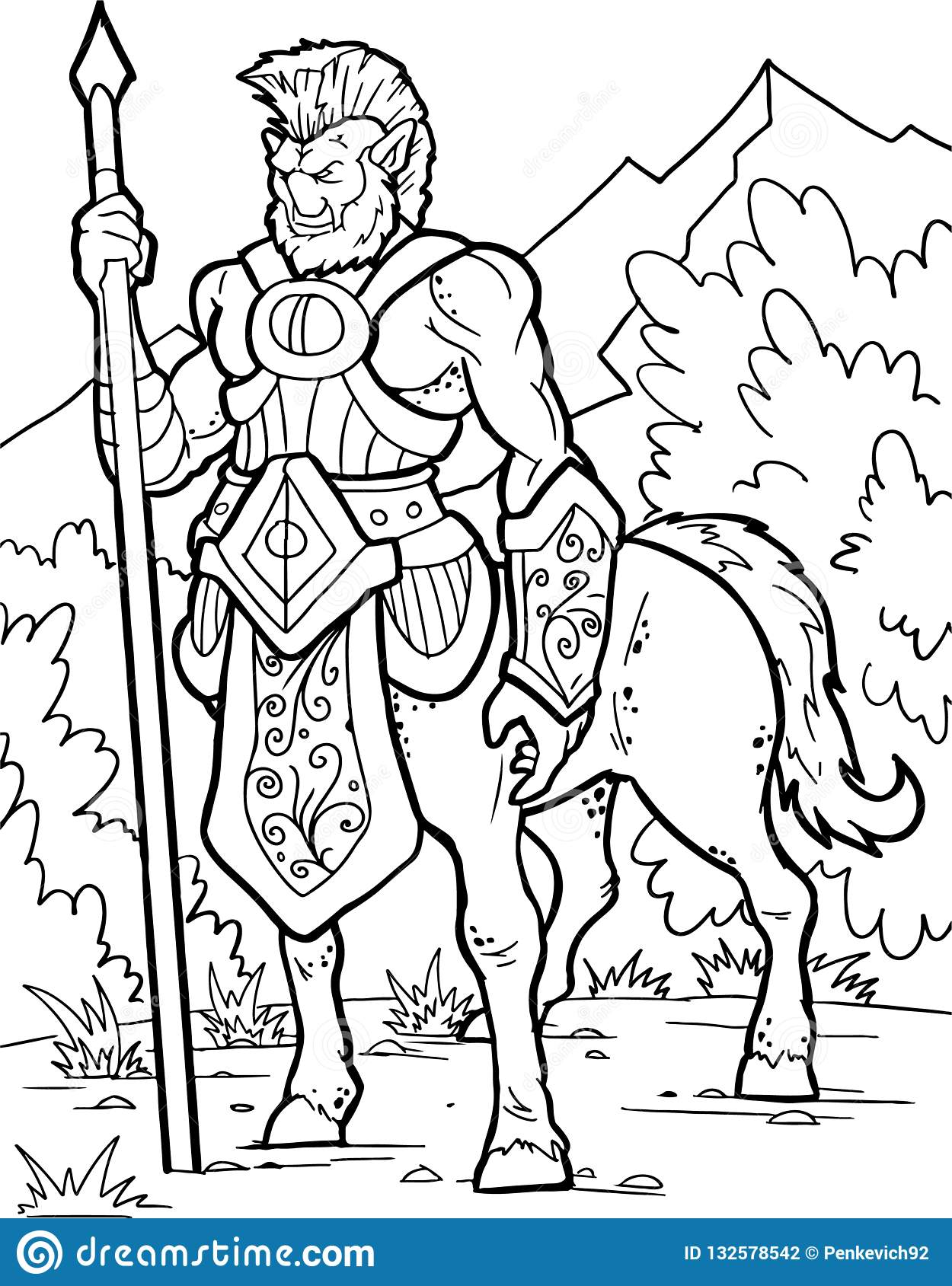 Centaur Human Warrior With Horse Body Fantasy Magic Creatures Collection Hand Drawn Illustration Engraved Line Art Drawing Stock Vector Illustration Of Antique Gothic 132578542