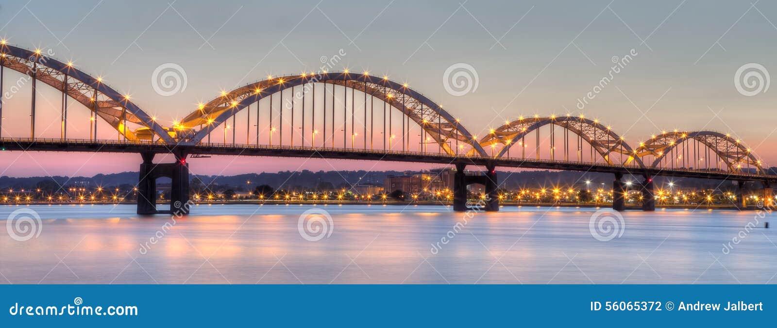 Centennial Bridge Connecting Moline, Illinois To Davenport ...
