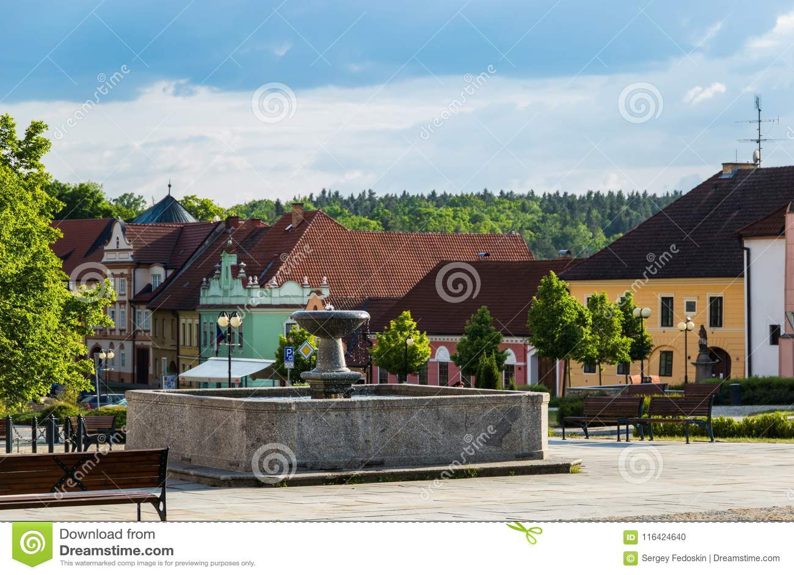 Center of Bechyne city, South Bohemia.