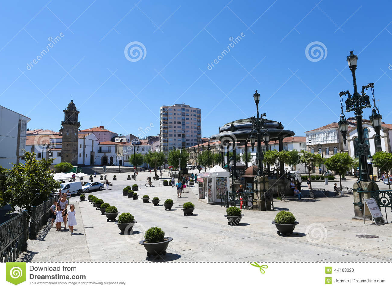 Betanzos Spain  City pictures : BETANZOS, SPAIN JULY 30, 2014: Central square or Plaza Irmans Garcia ...