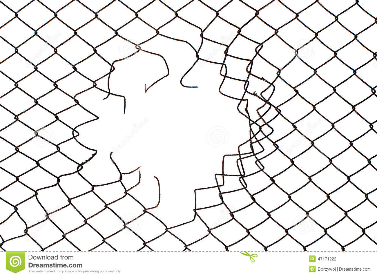 Center Hole In The Mesh Wire Fence Stock Photo - Image of gaol, link ...