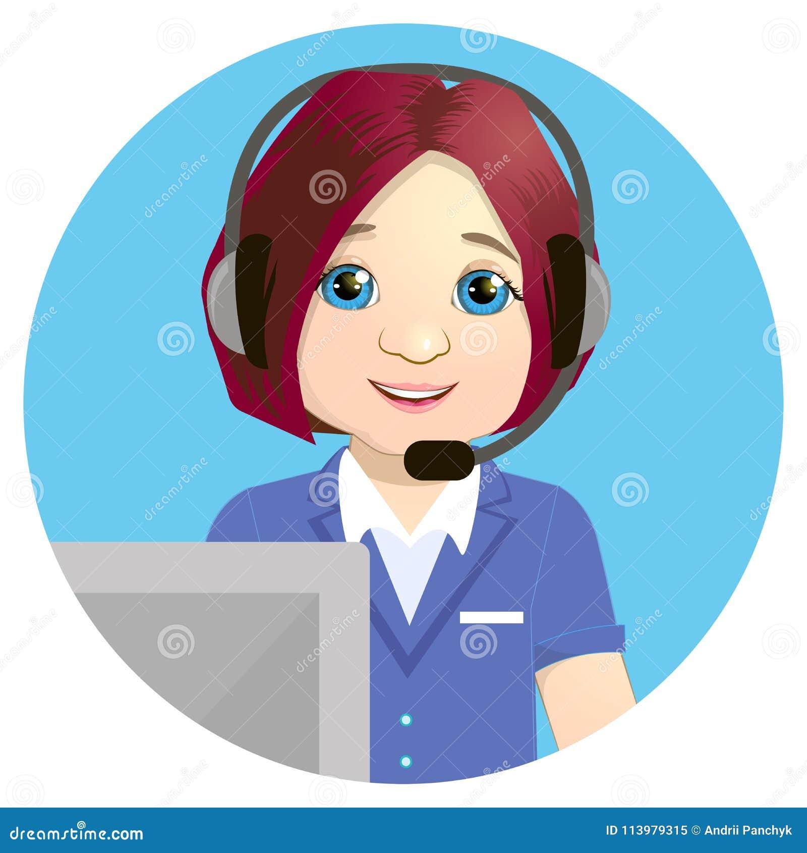 Center operatör för ett felanmälan på arbete På vitbakgrund Nöd- begrepp med medicinskt bära för helplineoperatör