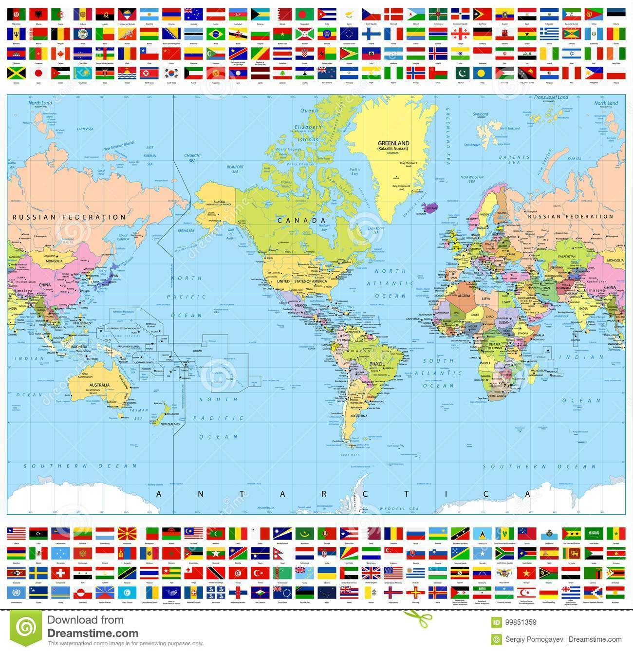 Centered america political world map and all world flags stock centered america political world map and all world flags gumiabroncs Images